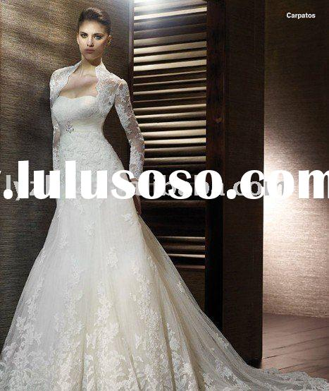 2012 new style HY2266 lace long sleeves wedding gown