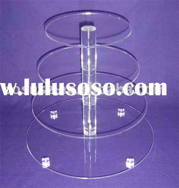 4 tier round Acrylic Cupcake Stand,Plexiglass Bakery Display Stand,Lucite Wedding Cake Display Stand