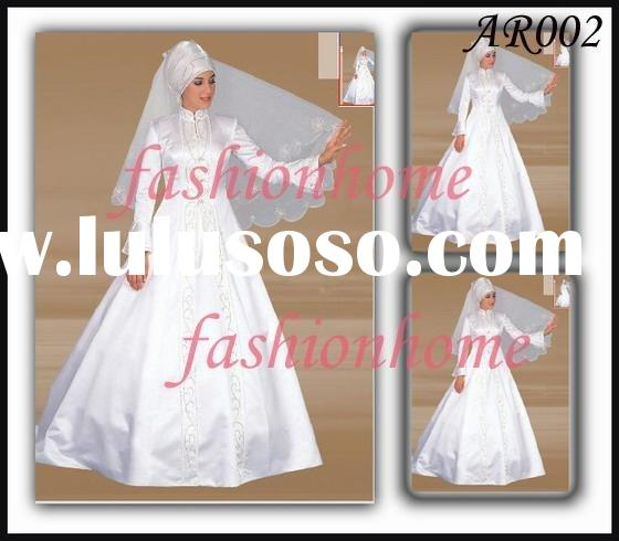 AR002 elegant Arab wedding dress Islamic wedding dress muslim wedding dress free veil plus size whit