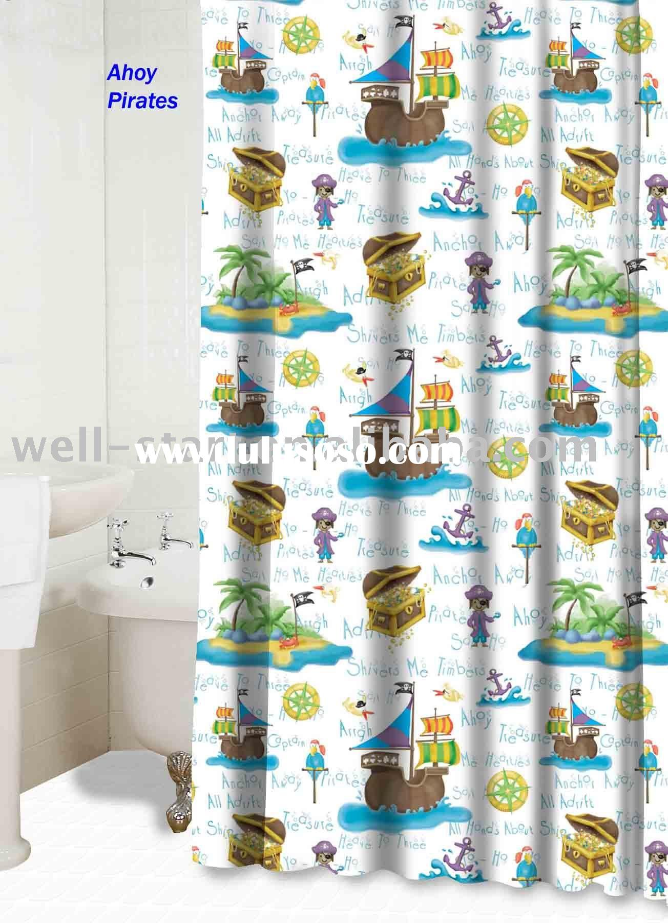 Ahoy Pirates printed polyester fabric shower curtain
