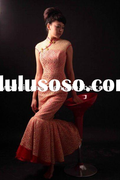 Beautiful Lace Cap Sleeves Collar Mermaid Chinese Style Prom Dress