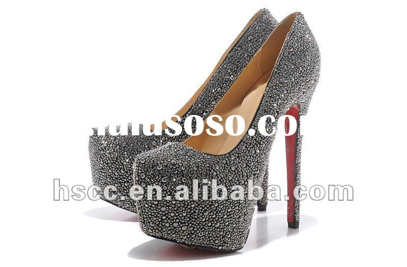 Black Rhinestone Crystal High Heel Shoes For Women