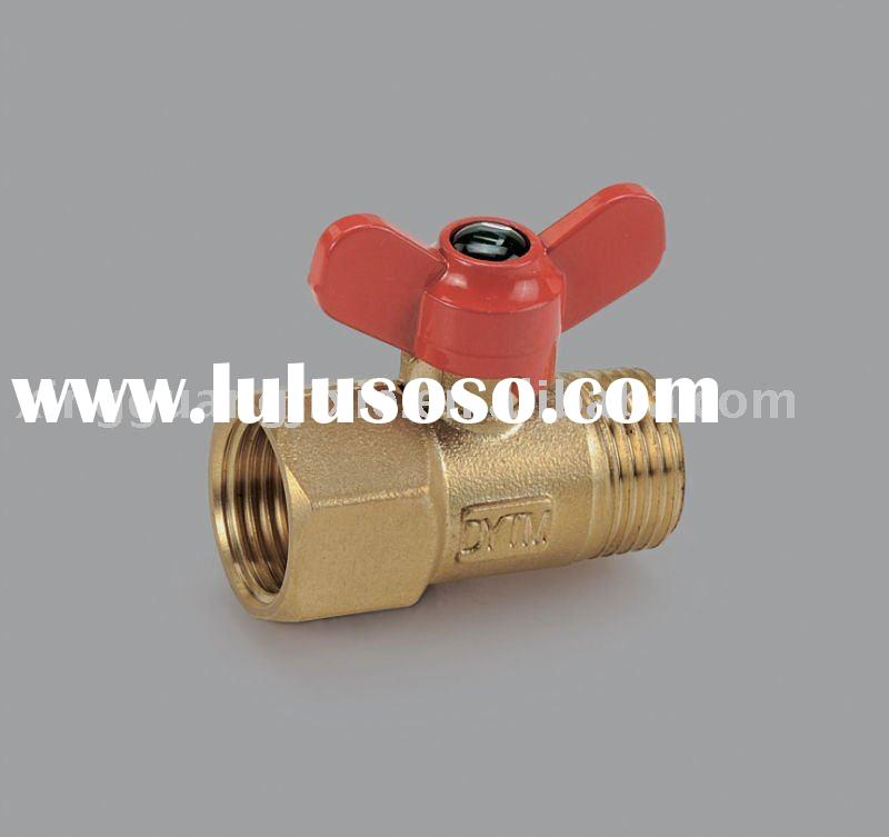 Butterfly handle brass male and female thread ball valve(one piece)