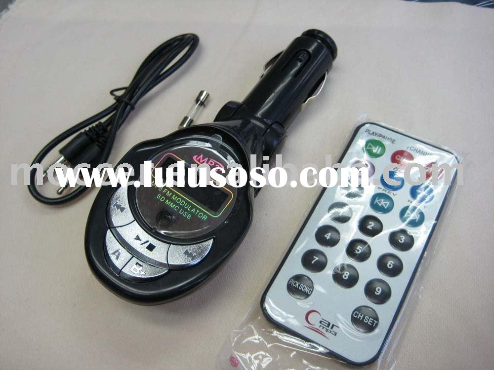 Car FM Transmitter Modulator for MP3 / SD /USB Flash Memory Card.