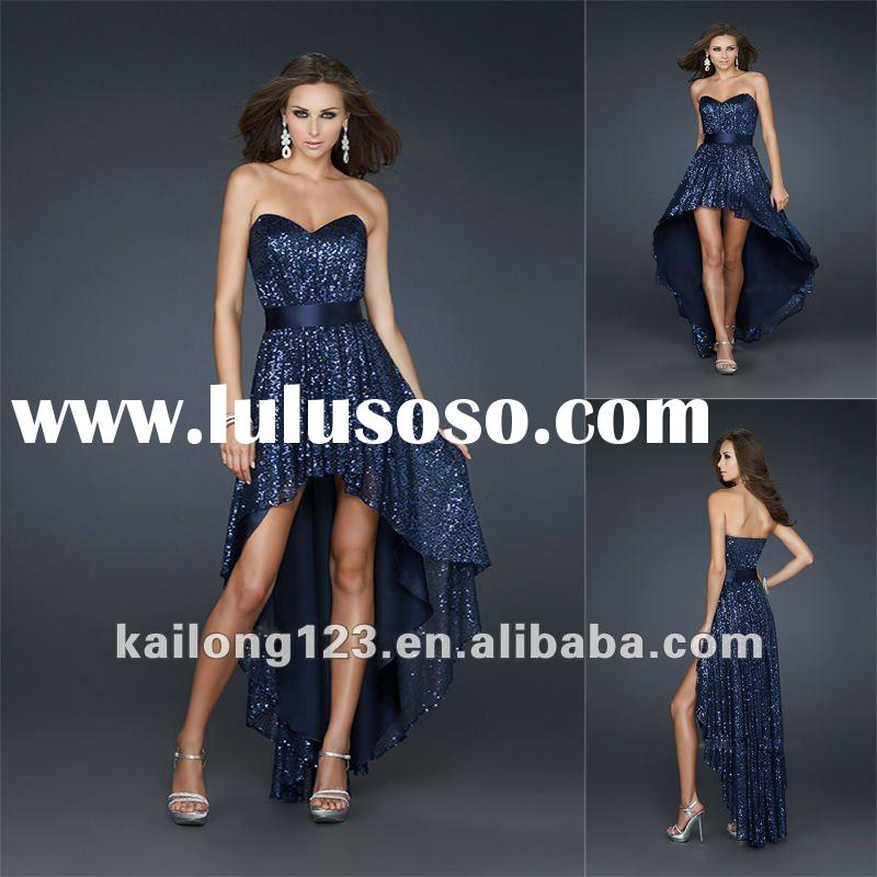 Charming Sweetheart Front Short Back Long Sequined Prom Dress