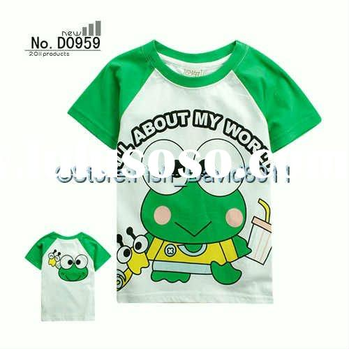 Children T-Shirt NO.D0937 Boys And Girls Frog Cotton Tops Children Clothing Age: 2-7 Years Old Free