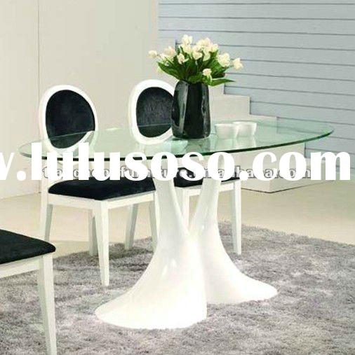 Clear oval tempered glass table top