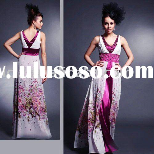 D30140 Dropshipping V-neck satin A-line wedding lady's dress flower printed accept paypal