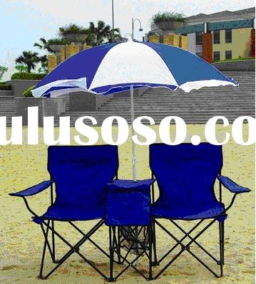 Double beach chair with umbrella and table
