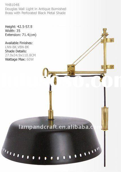 Douglas wall light in antique brass with black metal shade