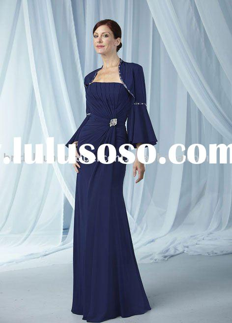 Fashion simple high quality jacket strapless formal mother evening dress/gown dressEB-3923