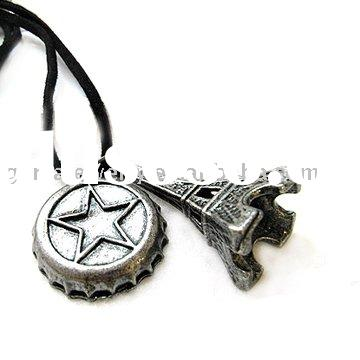 Leather Necklace With France Eiffel Tower and Beer Cap Pendant
