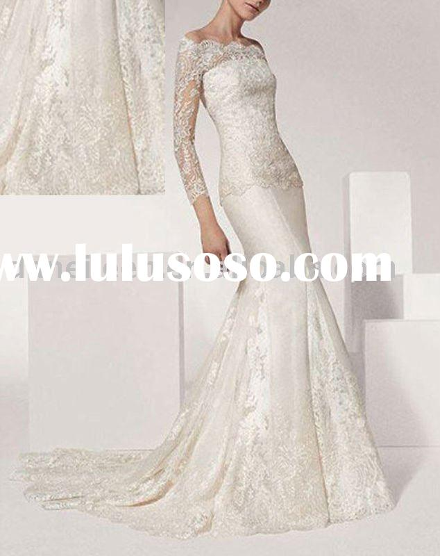 Mermaid High Quality Long Sleeve Wholesale SATIN-LACE Wedding Gown-DE-WR0156