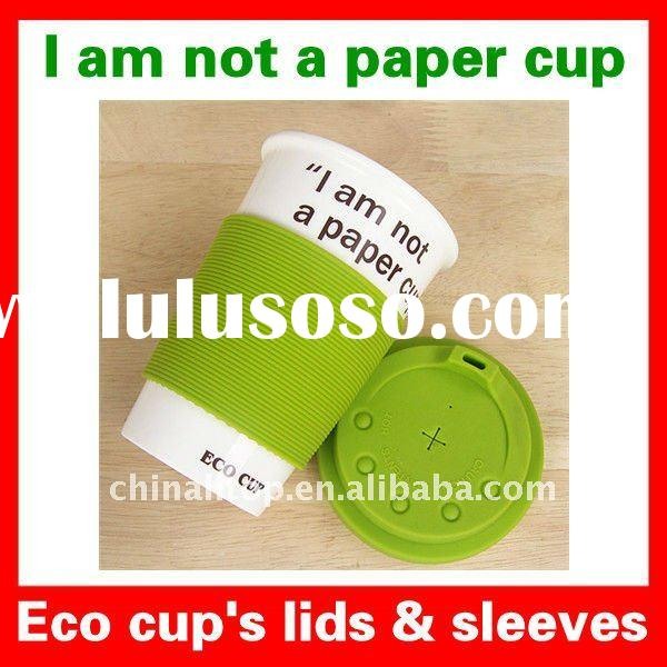 """Reuseable Cartoon Smiling Face Eco Mug Coffee Tea Cup """"I am not a paper cup"""" with Silicone"""