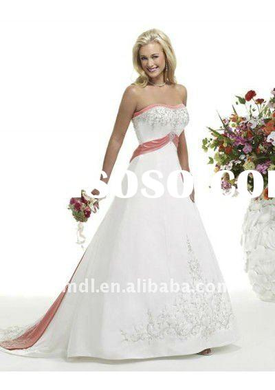 Sweet and lovely soft A-Line/Princess Strapless Chapel Train Satin wedding gowns with lace up back