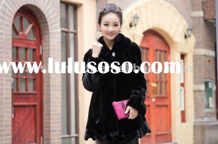 Top quality mink fur garment ladies,natural black soft fashion women mink fur coat, fur coat.