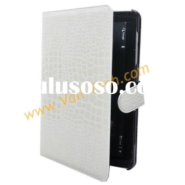 White Crocodile Pattern Design Leather Protector Case Cover For Samsung Galaxy Tab P7510