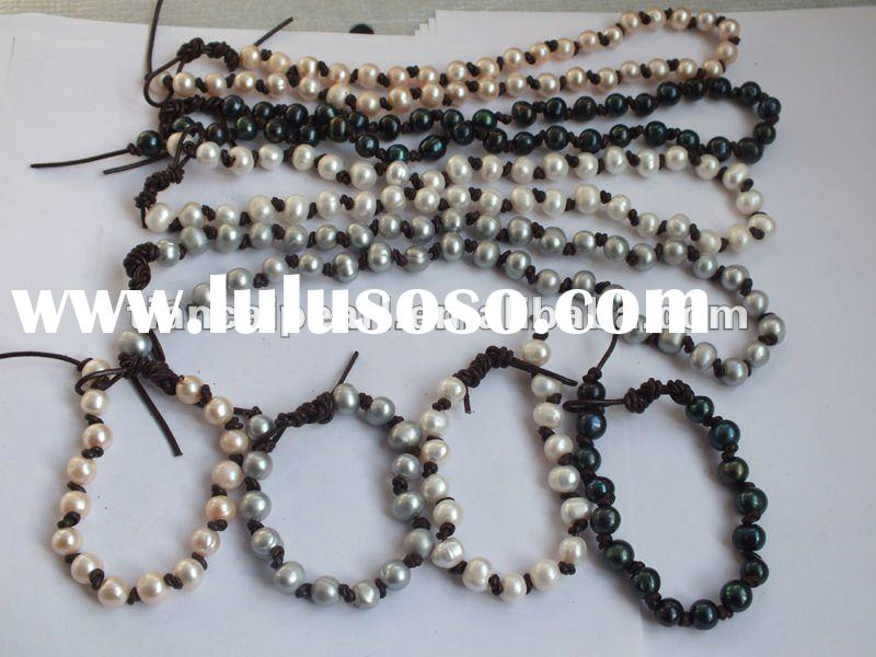 Wholesale New Design Fashion Pearl and Leather cord Knoted Shamballa Freshwater Pearl Jewelry neckla
