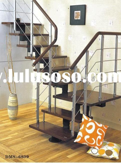 Wood/glass steps ,wire railing Steel Wood Stair(DMS-6809)