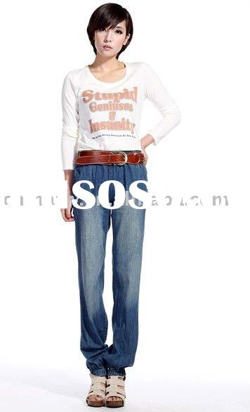 [db2506] newest wholesale fashion lady loose design denim pants lady jean