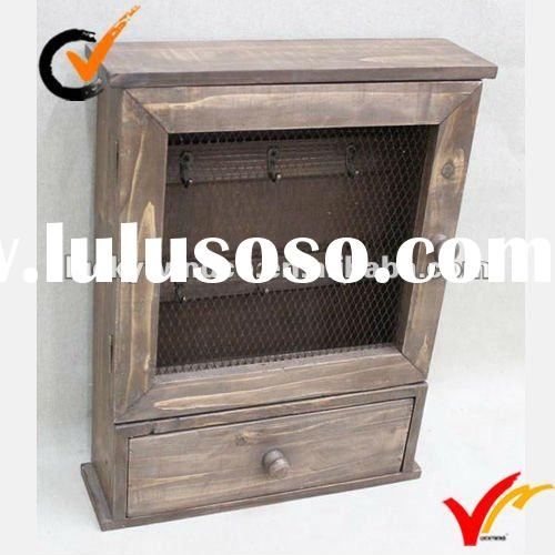 cottage look rustic wall mounted wooden key cabinet