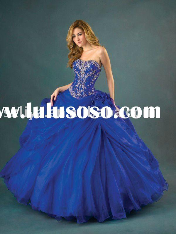 elegant royal blue strapless organza 2011 hot sell ball gown RB004