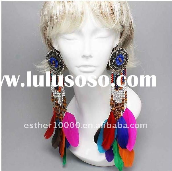 fashion long feather earring jewelry