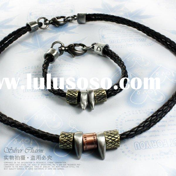 fashion wholesale leather jewelry sets braided leather bracelet and necklace PI3008
