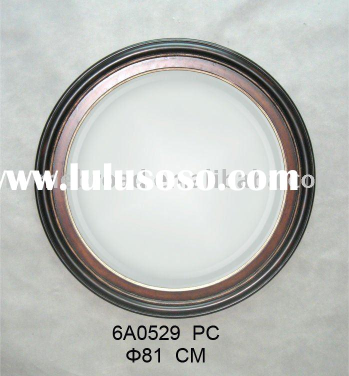 metal frame round wall mirror