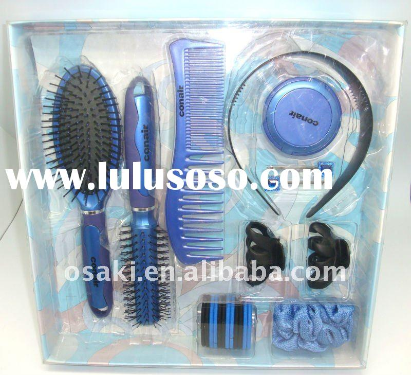 plastic hair brush with mirror set