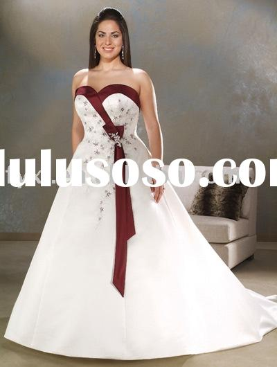 plus size white and red wedding gown A0029-1