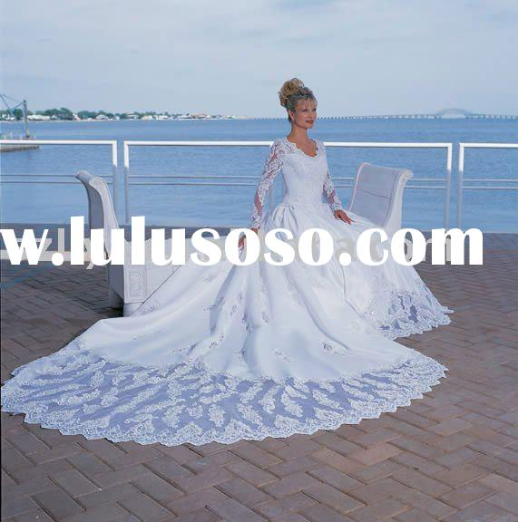 pure white elegant long sleeves full lace beaded wedding dresses with long tail SHS116