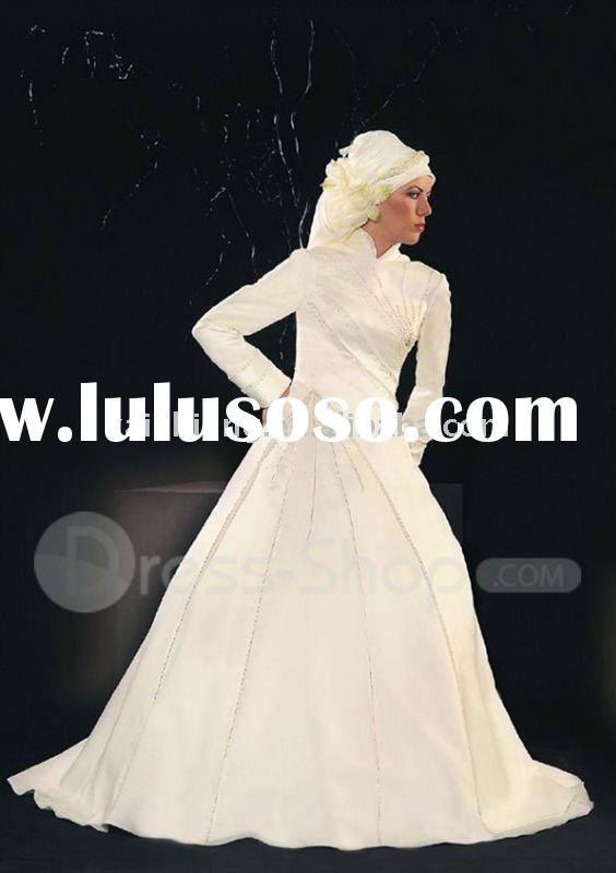 satin muslim long sleeve high neck 2011hot wedding dress bridal wedding gown