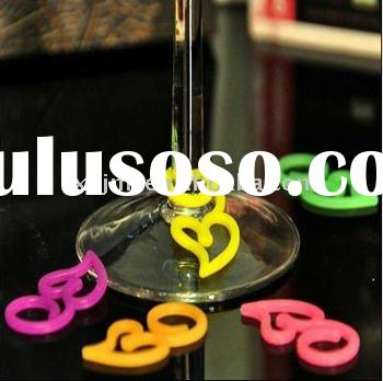 silicone wine charms/glass/bottle rubber marker