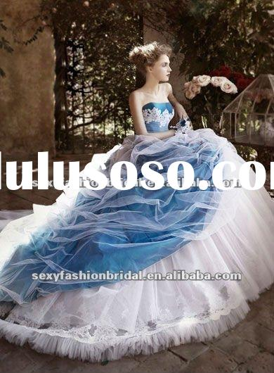 stunning sweetheart neck applique accented organza covered skirt royal blue and white wedding dresse
