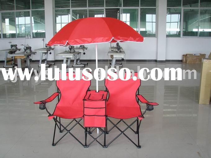 twin beach chairs with umbrella & cooler