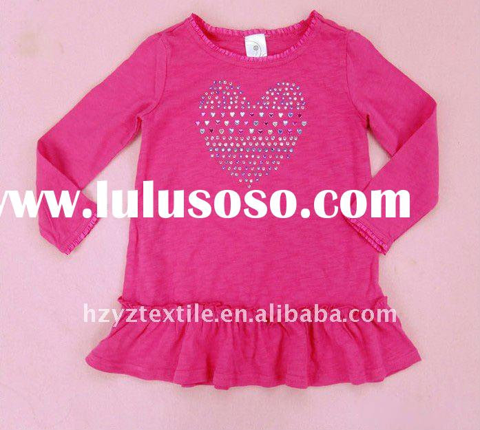 2011New style hot sale childrens clothing girls long sleeves beaded tshirt cotton tshirts blouse bac