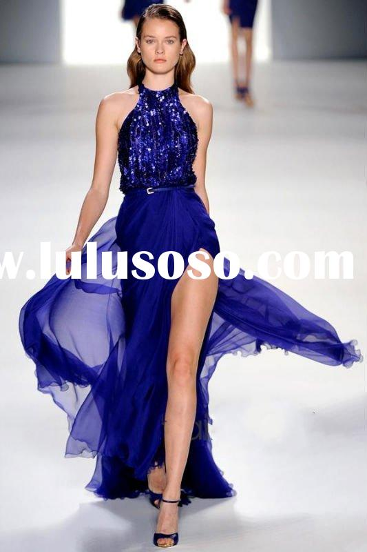 2012 new arrival spring elie saab style sapphire blue chiffon top with sequins evening dress