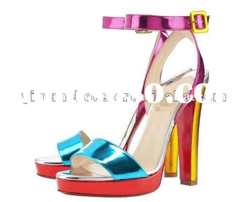 2012 the newest colourful genuine leather high heel lady sandal