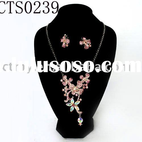 CTS0239 wedding or bridal or diamond necklace and earring fashion jewelry set costume or imitation j