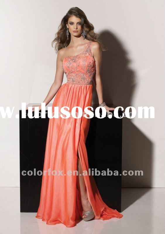 Dignified Coral Beaded Chiffon One Shoulder Prom Dress