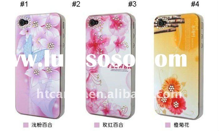 Luxury bling Diamond flower Crystal Hard Case for iPhone 4