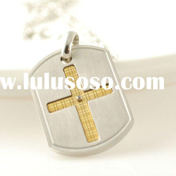 Mens necklace, 316L stainless steel cross tag pendant, gold cross, mens jewelry, gold and silver cro