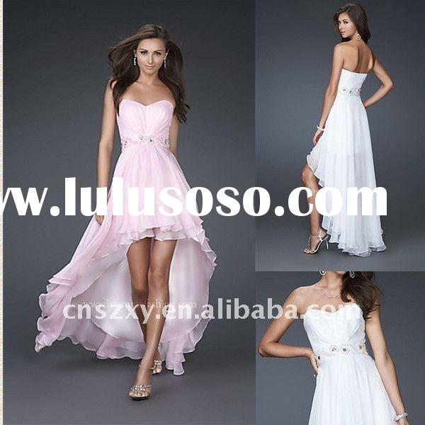 OEM New style A line Strapless Sequin Beaded Short Front Long Back Chiffon Evening Dresses
