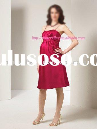 P106N Red Short A-line Silk Satin Maternity Dress