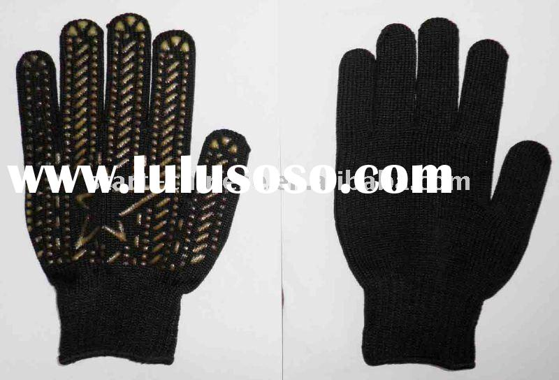 String knit pvc dotted working gloves