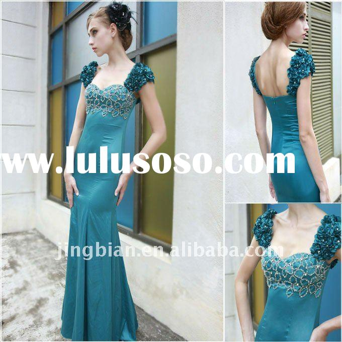 Turquoise Ocean Short Sleeve Evening Gown