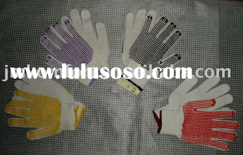 cotton PVC dotted knitted working glove