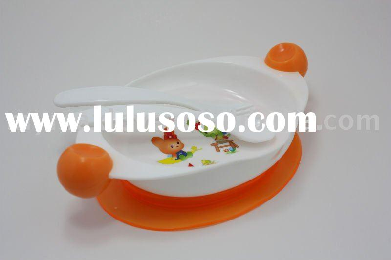 cute baby kids plastic dish feeding dinner plate/suction bowl sets with suction base fork and spoon