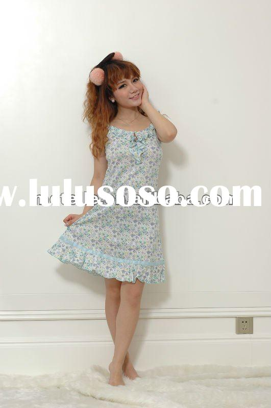 fashion floral printed cotton sleepwear nightgown